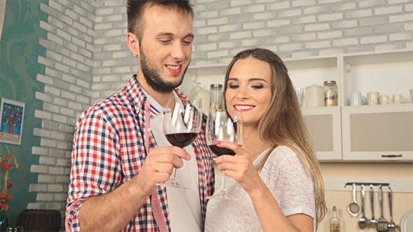Thumbnail for Couple in Love are Drinking Wine