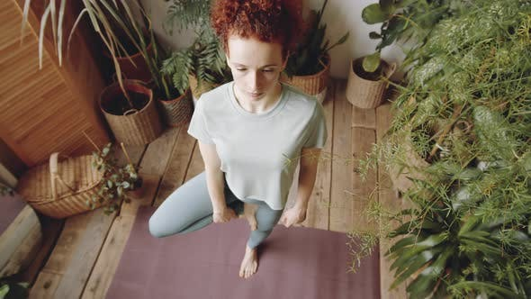 Thumbnail for Top View of Woman Standing in Tree Pose on Yoga Mat