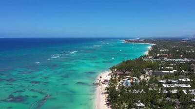 Tropical Seashore with Resorts and Turquoise Caribbean Sea
