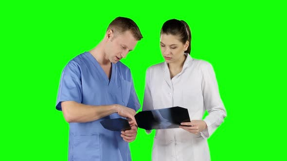 Thumbnail for Two Doctors with X-ray Prints. Green Screen