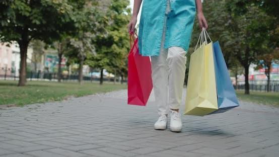 Fashion Shopping  Woman Carries Shopping Bags