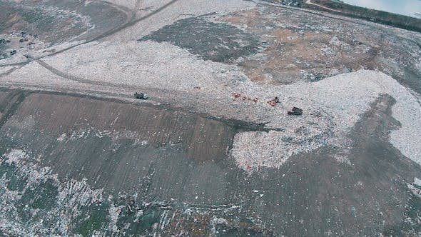 Thumbnail for Aerial Shot Landfill with Working Trucks