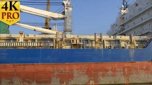 An Old Huge Icebreaker Ship on Doc
