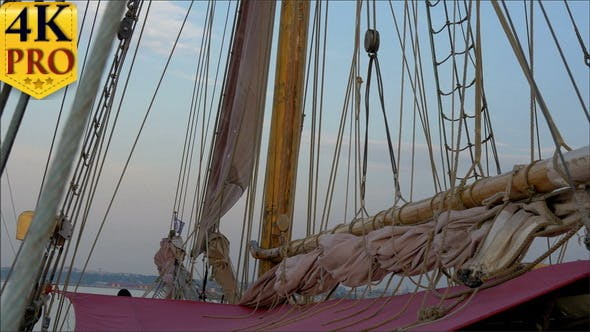 Thumbnail for Ropes and Rolled Big Clothes on the Sail Mas