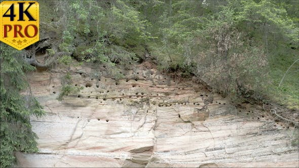Holes from Limestone Rock Mountain in the Forest