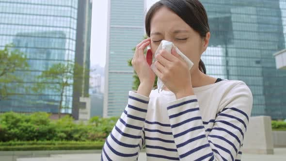 Thumbnail for Woman feeling unwell at outdoor