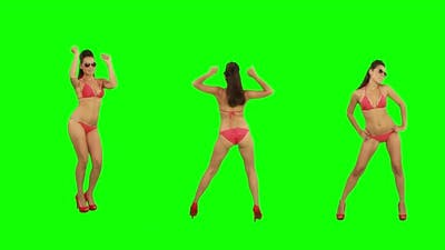 Girl Dances on Green Screen