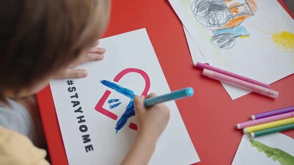 Cover Image for A Boy Draws a Picture Stay Home