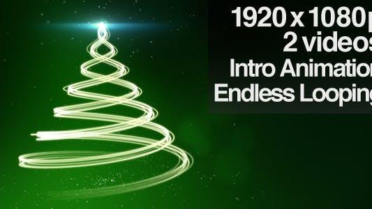 Thumbnail for Green Christmas Tree Backdrop - Series of 2 + Loop