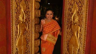 Girl Open  Door Of Temple