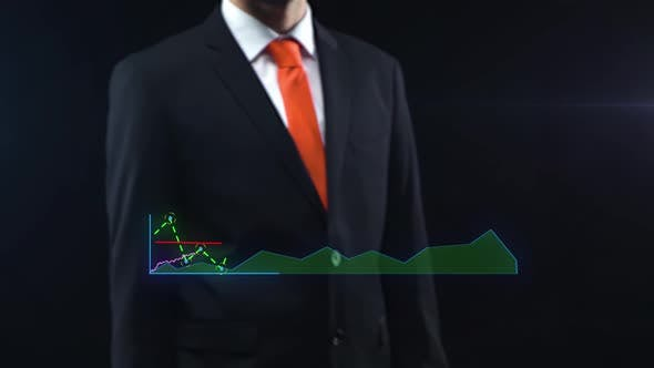 Businessman Uses Holographic Interface, Turns on Touchscreen and Appears Ascending Financial Chart