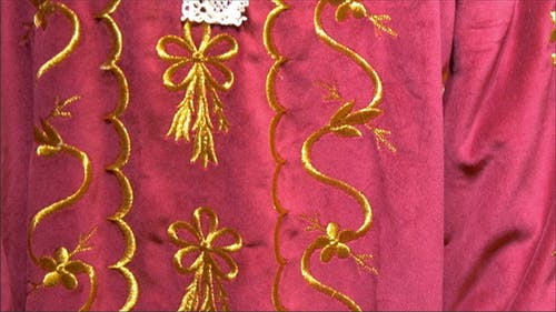 A Beautiful Embroidery of the Red Cloth