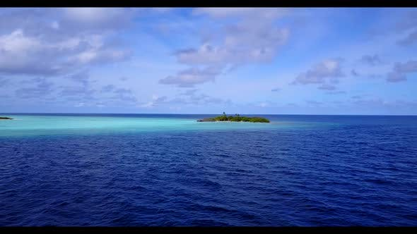 Thumbnail for Aerial drone seascape of marine island beach lifestyle by aqua blue lagoon with clean sandy backgrou