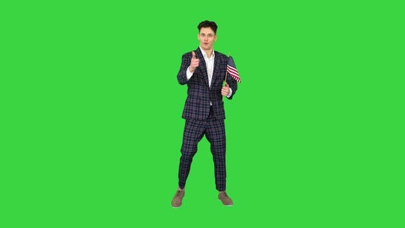 Thumbnail for Agitator with American Flag Calls To Vote on a Green Screen, Chroma Key.