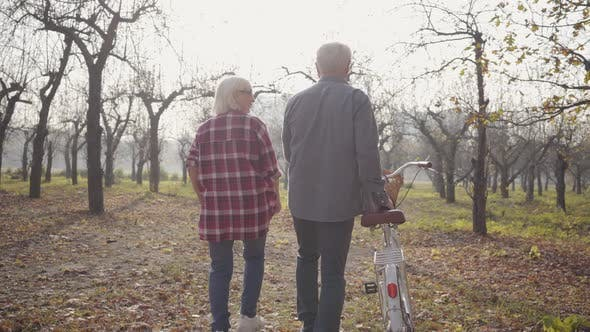 Thumbnail for Back View of Senior Caucasian Couple Walking with Bicycle in the Foggy Forest. Happy Retired Senior