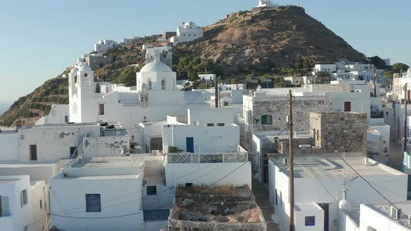 Shot of a Typical Greek City Town on Aegean Island