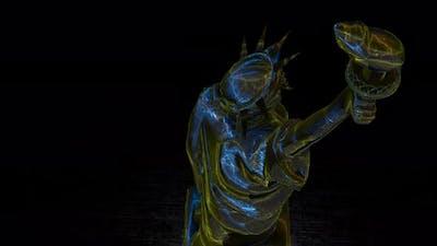 3d illuminated statue of liberty animation background
