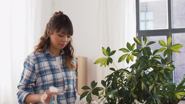 Thumbnail for Happy Asian Woman Cleaning Houseplant at Home
