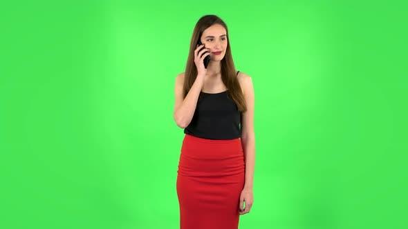 Thumbnail for Portrait of Girl Talking for Mobile Phone