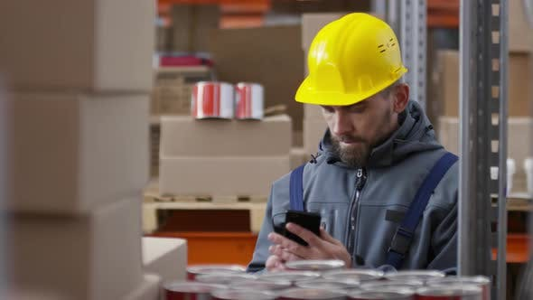 Thumbnail for Warehouse Worker Stocking and Talking on Mobile