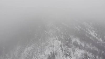 Snowfall in the Mountains Top View