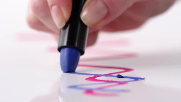 Thumbnail for Female Hand Drawing with Blue Lipstick