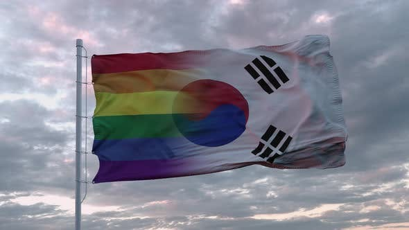 Waving Flag of South Korea State and LGBT Rainbow Flag Background