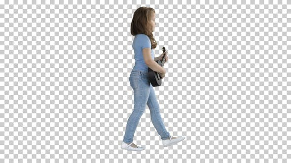 Thumbnail for A little girl walking with ukulele in hands, Alpha Channel