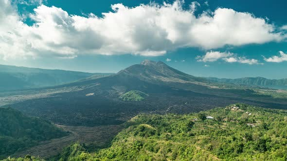 Cover Image for Landscape of Batur Volcano and Black Lava on Bali Island, Indonesia. Timelapse