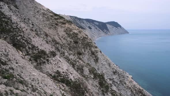 Beautiful blue sea. Sea expanse landscape, high seashore