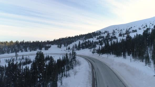 Thumbnail for Aerial View on Winter Road