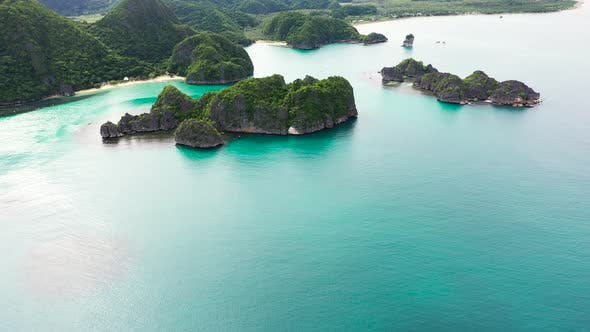 Thumbnail for Tropical Islands and Blue Sea, Aerial Drone . Caramoan Islands, Philippines.