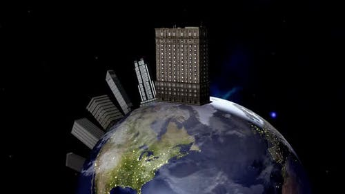 Animation of large skyscrapers in space on planet Earth