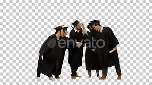 Happy friends graduates join hands together The concept