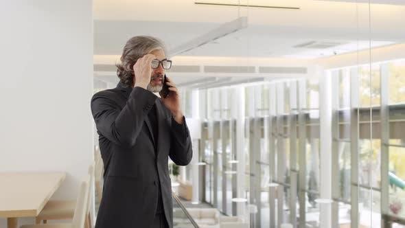Senior Geschäftsmann spricht am Telefon