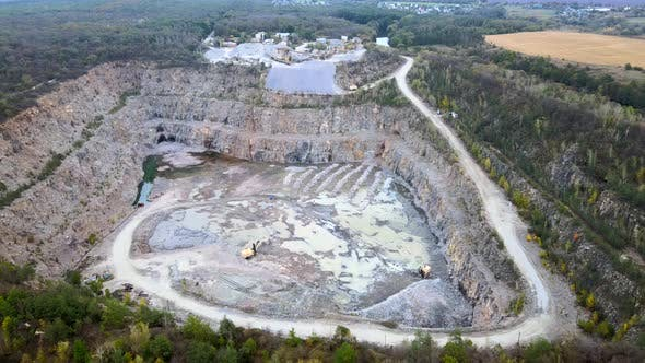 Thumbnail for Aerial Drone View of Career in Europe, Crushed Stone Quarry at Summer Sunset