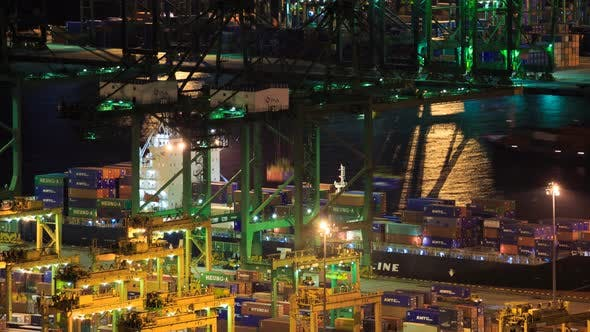 Time-lapse of Commercial port of Singapore, It is one of the busiest Import, Export, Logistics