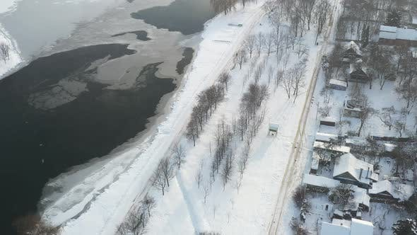 Winter River Svisloch and a Settlement in the Center of Minsk