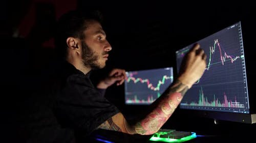 Stock Market Trader Looking at Graphs and Analyzing Them on Multiple Monitors