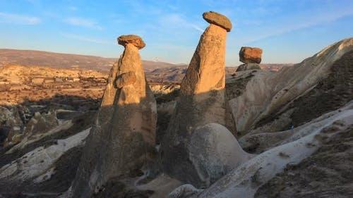 Cappadocia, Turckey Fairy Chimneys sunset timelapse. Ultra HD