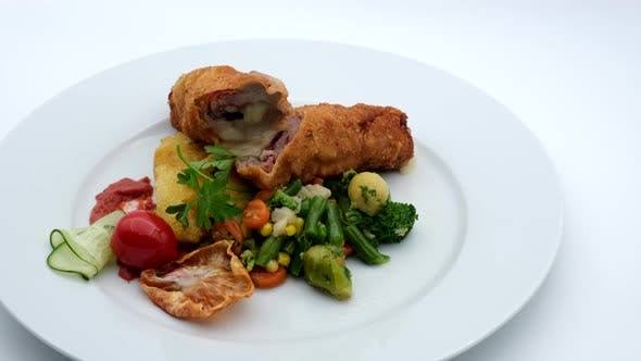 Thumbnail for Delicious Restaurant Food Fried Chicken With Vegetables
