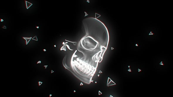 Thumbnail for Neon Glowing Skull 02 4K