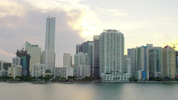 Thumbnail for Skyline at sunset in Miami