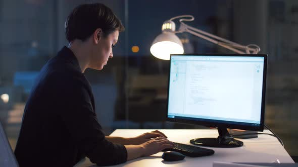 Thumbnail for Businesswoman Working on Computer at Night Office 20