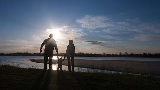 Thumbnail for Happy Family Walking on River Bank 3