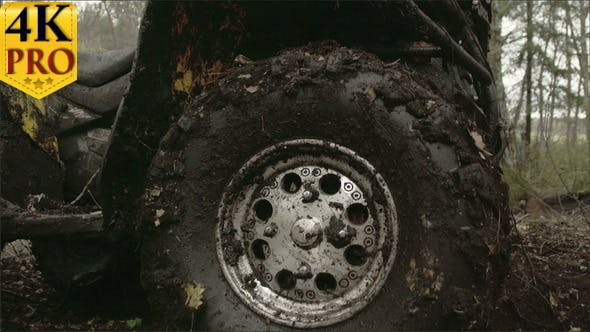 Thumbnail for The Muddy Left Wheel of the Offroad Vehicle