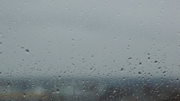 Thumbnail for Grey Rainy Glass With Water Drops