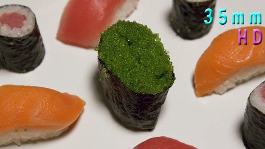Thumbnail for Assorted Sushi With Green Caviar