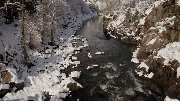 Aerial shot of the beautiful winter landscape