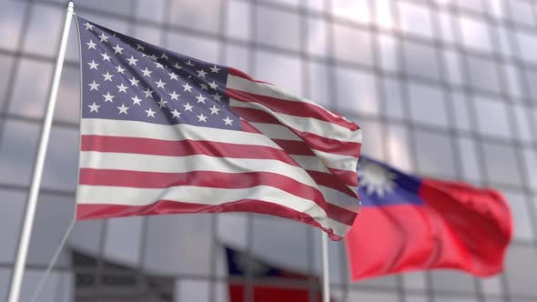Flags of the United States and Taiwan